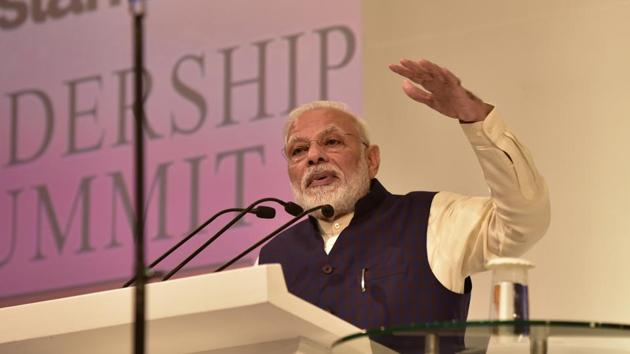 Prime Minister Narendra Modi delivered the inaugural address during the Hindustan Times Leadership Summit on Friday, December 06, 2019.(Virendra Singh Gosain/HT PHOTO)
