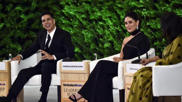 Akshay Kumar, Kareena Kapoor at the Hindustan Times Leadership Summit in New Delhi. (Photo by Ajay Aggarwal/ Hindustan Times)(Ajay Aggarwal/HT PHOTO)