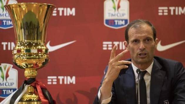Juventus coach Massimiliano Allegri holds a press conference at the Olimpico stadium in Rome, Italy.(AP)