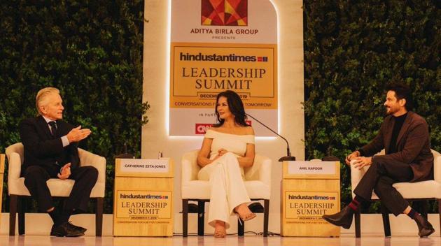Michael Douglas and Catherine Zeta-Jones speaking at 17th Hindustan Times Leadership Summit .(HT Photo)