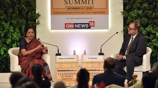 """On slowing growth, Sitharaman said her attention is to make sure more is done for greater stimulus. """"Tax rate cut is one among the many things we are thinking to boost stimulus,"""" said FM Sitharaman. She later said that the taxation regime will be simplified, exemption free. """"We are moving towards a more simplified and harassment-free taxation regime,"""" said the finance minister. (Burhaan Kinu / HT PHOTO)"""