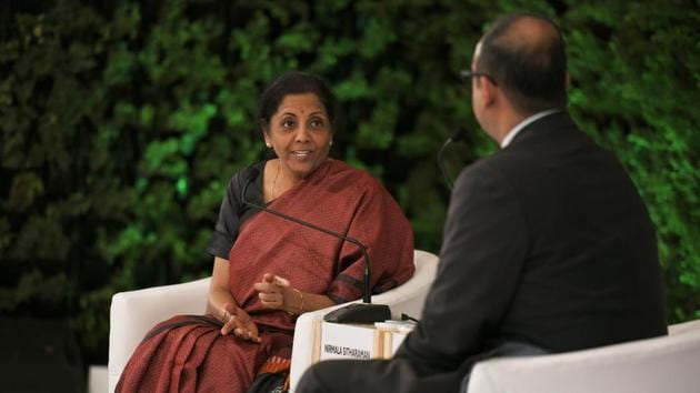 """Finance Minister Nirmala Sitharaman began the day in conversation with R Sukumar, Editor-in-chief, Hindustan Times. """"The vision of the government translates into several things, like every citizen has a home, every family has a toilet, and every citizen is healthy. The vision is what it means to an ordinary citizen,"""" said FM Sitharaman. """"The govt's vision is homes, energy and skills,"""" she said. (Raj K Raj / HT Photo)"""