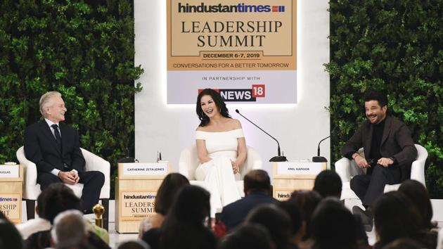 """""""We are delighted to be back in India. This is a country which is very close to our heart,"""" said Catherine Zeta-Jones. """"I was lucky enough to marry my best friend. The secret of our relationship was to being kind to each other and we are best friends,"""" she said when the secret to a long married life by Anil Kapoor. 'Happy wife, happy life,' was Michael Douglas' rejoinder to Zeta-Jones. (Arvind Yadav / HT Photo)"""