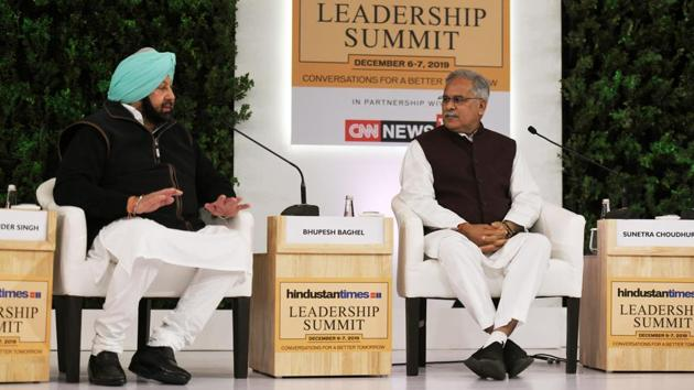 """""""Punjab has given the Centre whatever GST collection was made. We haven't received GST compensation since August. We can't keep borrowing to pay salaries,"""" said Amarinder Singh. On criticism that Congress wasn't opposing GST hard enough, """"Manmohan Singh held a press conference, Chidambaram held a press conference, spokespersons have been answering. We are going to protest in Delhi, too, come join us,"""" said Bhupesh Baghel. (Raj K Raj / HT Photo)"""