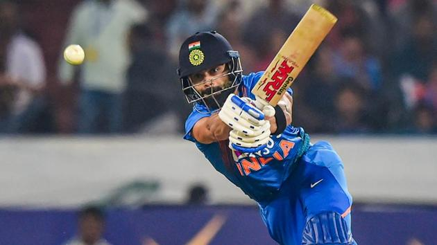 India's skipper Virat Kohli plays a shot.(PTI)
