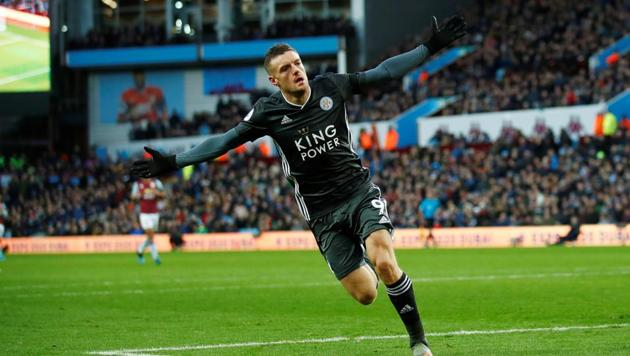 Leicester City's Jamie Vardy celebrates scoring their fourth goal.(REUTERS)