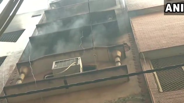 The building in Delhi 's Anaj Mandi where 43 people were killed in a fire on Dec 8, 2019.(ANI / Twitter)