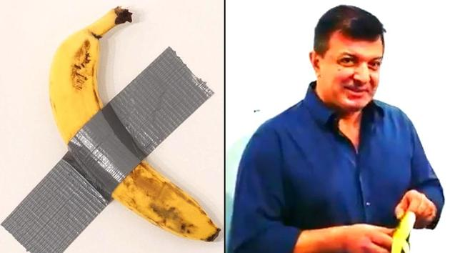 The most talked-about artwork of the week was titled Comedian — a spotty banana duct-taped to a wall by artist Maurizio Cattelan. New York based artist David Datuna (photo on right ) removed the banana from the wall, unpeeled it and took a bite.(Photo credit: @ArtBasel (L), @OfficialJoelF (R))