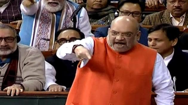 Union Home Minister Amit Shah speaks in the Lok Sabha during the winter session of Parliament in New Delhi on Dec 9, 2019. (ANI Photo/LSTV Grab)