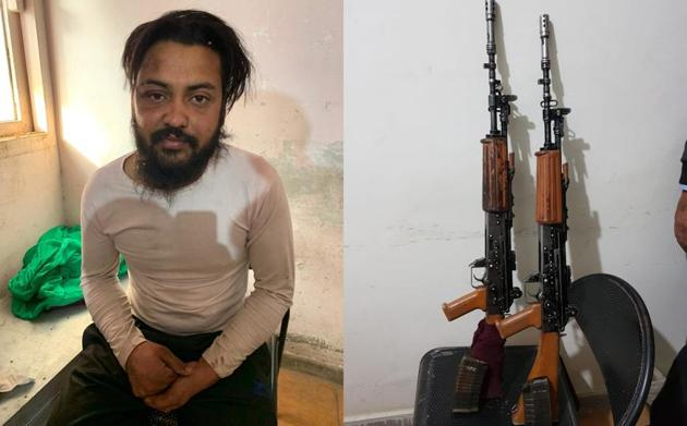 Army deserter Harpreet Singh, 25, after his arrest in Hoshiarpur on Monday night and (right) the two INSAS rifles that he stole along with an accomplice Jagtar Singh from an army training centre at Pachmarhi in Madhya Pradesh on December 5.(HT Photos)