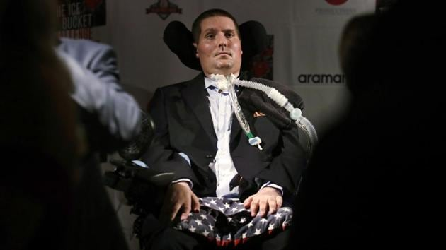 Pete Frates, who was stricken with amyotrophic lateral sclerosis, or ALS, died Monday.(AP File Photo)