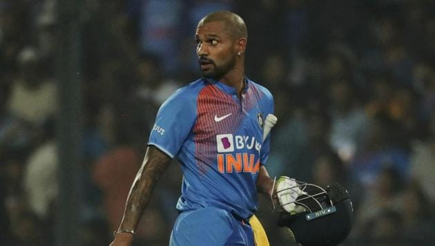 Shikhar Dhawan during the third Twenty20 international match against Bangladesh in Nagpur, India.(AP)