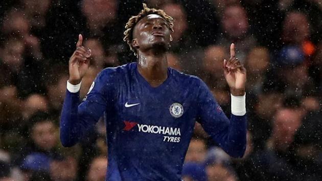 Chelsea's Tammy Abraham celebrates scoring their first goal.(REUTERS)