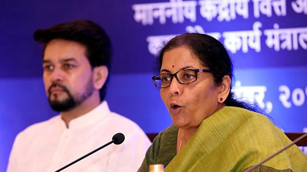 Union Minister for Finance Nirmala Sitharaman addresses a press conference during the GST meet held in Old Goa. Minister of State for Finance Anurag Thakur also present.(File photo: ANI)