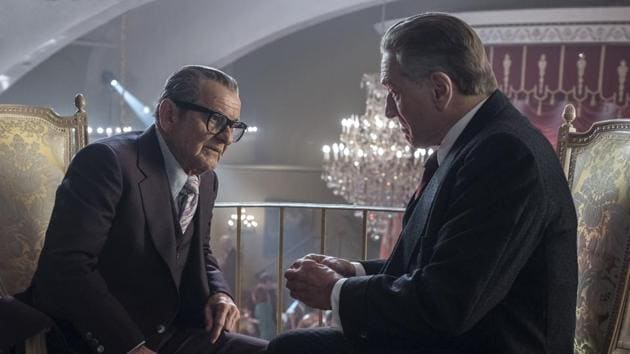 This image released by Netflix shows Joe Pesci, left, and Robert De Niro in a scene from The Irishman.(AP)