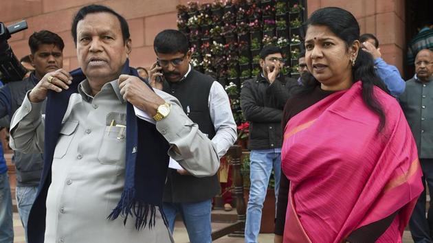 DMK MPs TR Baalu and Kanimozhi during the ongoing Winter Session at Parliament, in New Delhi.(Photo: PTI)