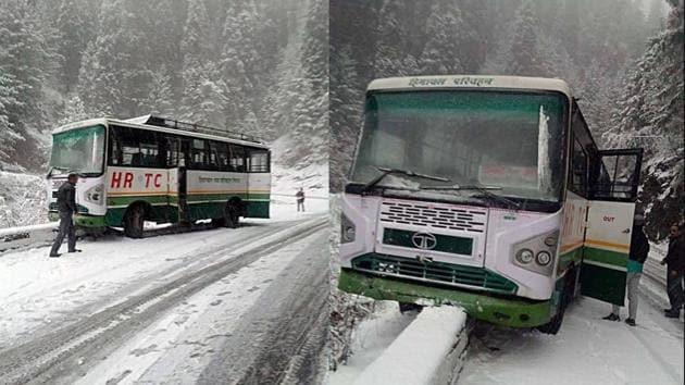 A Himachal Road Transport Corporation (HRTC) bus that skidded on the snow-covered road at Narkanda, 60 km from Shimla, on Thursday. (Right) Passengers had a narrow escape as the bus rammed into a roadside parapet.(ANI PHOTOS)