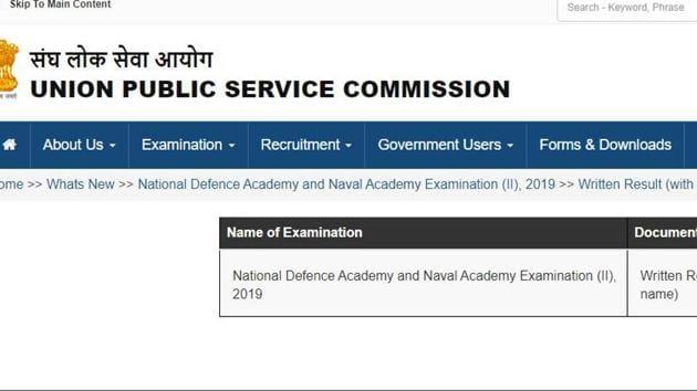 UPSC NDA and NA (II) result 2019. (Screengrab)