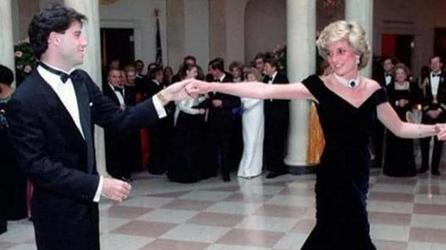"""Diana wore the dress in 1985 at a White House state dinner, where she danced with the """"Grease"""" actor.(Instagram)"""