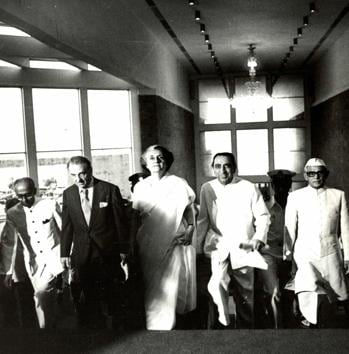 """Prime Minister Indira Gandhi, who inaugurated the NCPA twice, is flanked by JRD Tata and Dr Jamshed Bhabha at the opening of the Tata Theatre on October 11, 1980. In her speech she is said to have opened with a quote that to her mind best described the importance of a cultural centre, """"If I had two loaves of bread, I would sell one and buy hyacinths to feed my soul.""""(NCPA)"""