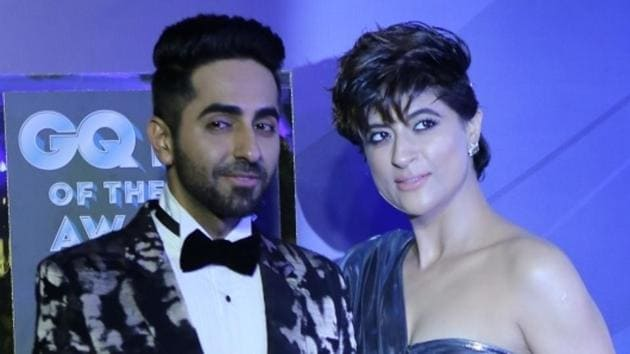 Actor Ayushmann Khurrana along with his wife Tahira Kashyap at the GQ Men of the Year Awards 2019.(IANS)