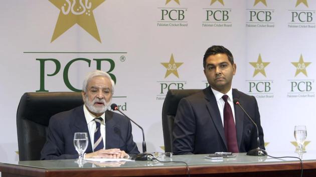 PCB Chairman Ehsan Mani in Lahore, Pakistan.(AP)