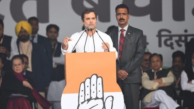 Congress leader Rahul Gandhi at Ramlila Maidan. (Photo: Raj K Raj/HT)