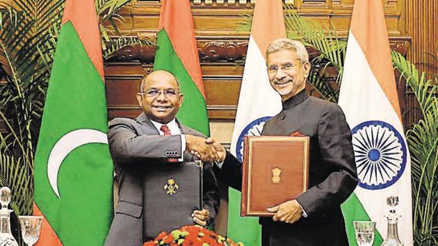 External Affairs Minister S Jaishankar and his Maldivian counterpart Abdulla Shahid at the India-Maldives Joint Commission Meeting (JCM) in Hyderabad House New Delhi.(PTI PHOTO.)
