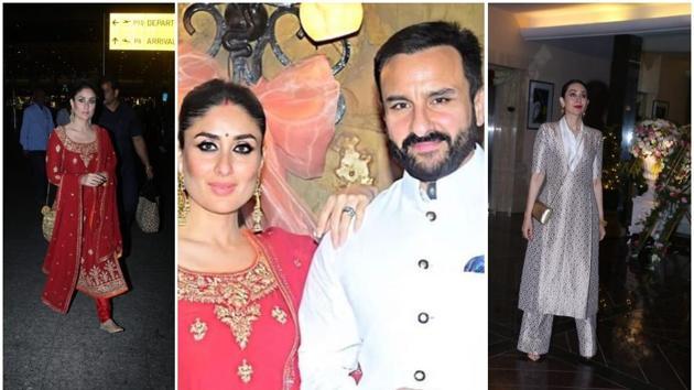 Kareena Kapoor, Saif Ali Khan and other members of the Kapoor family attended Armaan Jain's roka ceremony on Saturday.(Instagram/Varinder Chawla)
