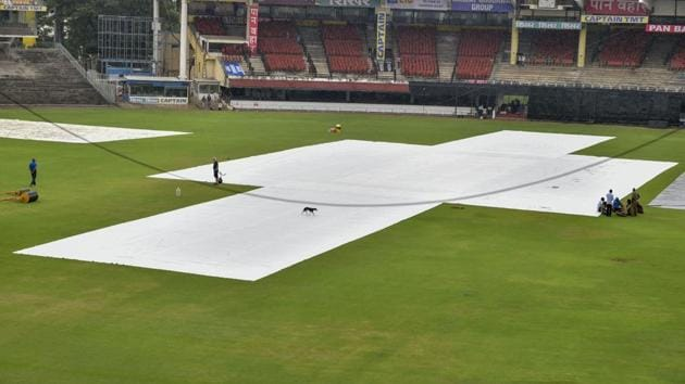 Pitch of MA Chidambaram Stadium is seen covered ahead of first One Day International(PTI)
