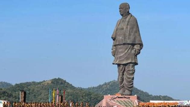 The Statue of Unity at Gujarat's Kevadia is a 182-m tall statue of India's first home minister Sardar Vallabhbhai Patel .(PTI)