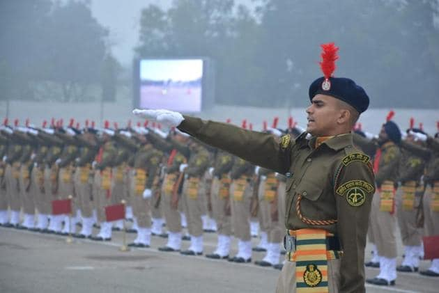 Newly inducted constables at the passing out parade at the Indo Tibetan Border Police training centre in Bhanu, Panchkula, on Monday.(Sant Arora/HT)
