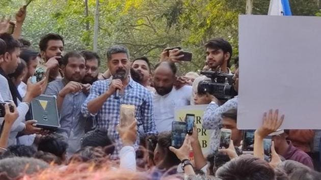 Sushant Singh took part in protests against the CAA in Mumbai.