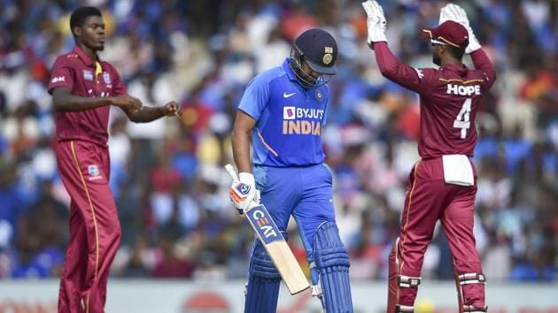 Rohit Sharma was dismissed by Sheldon Cottrell in 1st ODI(PTI)