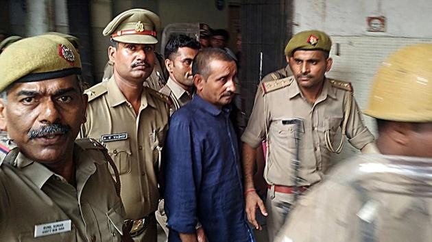 Unnao rape accused Kuldeep Singh Sengar after being convicted by the Tis Hazari court, in New Delhi on Monday.(ANI Photo)