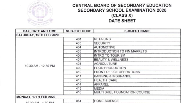 Cbse Date Sheet 2020 For Class 10 12 Released Download Pdf Here Hindustan Times