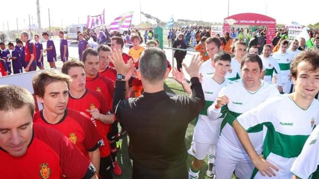 File image of players before the start of a LaLiga Genuine league clash.(LaLiga Foundation/ Twitter)