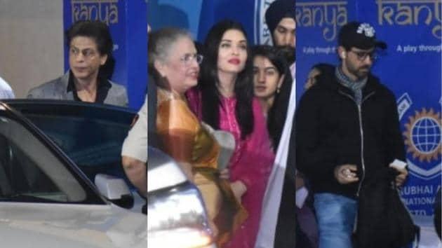 Shah Rukh Khan, Aishwarya Rai with mother Brinda Rai, Hrithik Roshan at Aaradhya's school function in Mumbai on Friday.
