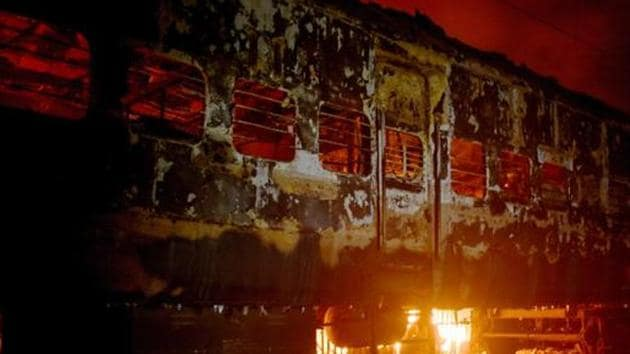 Charred remains of a boggie of a train set on fire by protestors agitating against NRC and CAB in Murshidabad district of West Bengal on December 13.(PTI Photo/File)