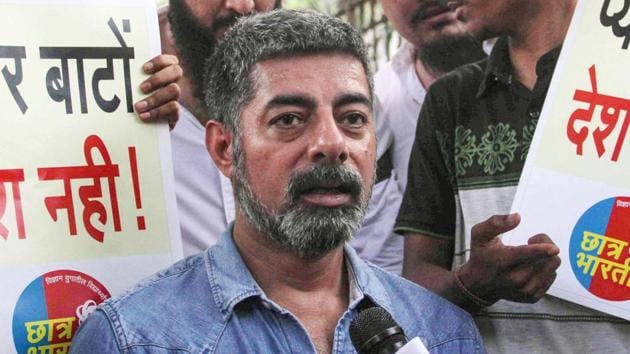 Sushant Singh addresses the media during a rally against the amended Citizenship Act and NRC, at August Kranti Maidan in Mumbai, Thursday, Dec. 19, 2019. (PTI)(PTI)