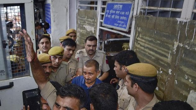 In this photo dated Aug 5, 2019, expelled BJP MLA and accused in the Unnao rape case Kuldeep Singh Sengar is taken to Tihar jailafter being produced Tis Hazari court, in New Delhi.(PTI Photo)