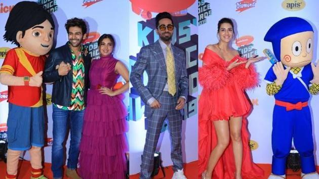Kartik Aaryan, Bhumi Pednekar, Ayushmann Khurrana and Kriti Sanon at the Nickelodeon Kids' Choice Awards in Mumbai.(Varinder Chawla)