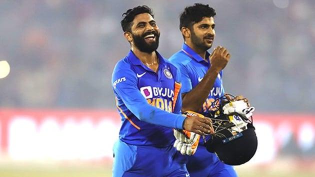 Ravindra Jadeja and Shardul Thakur celebrate after win. (BCCI/Twitter)