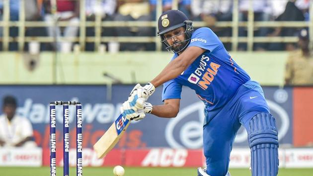India's Rohit Sharma plays a shot during the 2nd One Day International cricket match against West Indies at ACA-VDCA Cricket Stadium in Visakhapatnam, Wednesday, Dec. 18, 2019.(PTI)