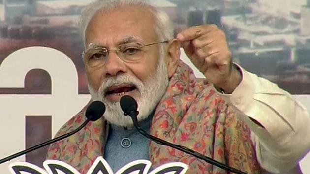 Prime Minister Narendra Modi addresses a BJP rally at Ramlia Maidan, in New Delhi on December 22, 2019. (ANI Photo)