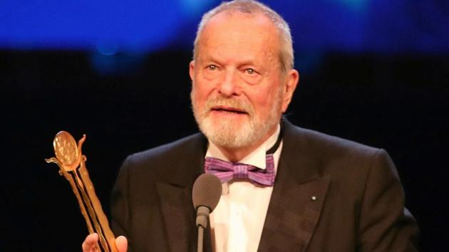 British filmmaker Terry Gilliam receives a Lifetime Achievement Award during the opening ceremony of the 41st Cairo International Film Festival (CIFF).(REUTERS)