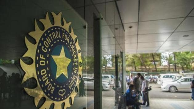 A view of logo of the Board of Control for Cricket in India (BCCI)(Hindustan Times via Getty Images)