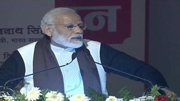 Prime Minister Narendra Modi speaking during the foundation laying ceremony of Atal Bihari Medical University in Lucknow on Wednesday.(Twitter/@BJP4India)