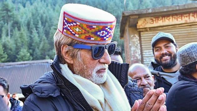 Amitabh Bachchan after a film shoot in Manali.(PTI)