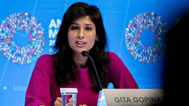 Ahead of the World Economic Outlook Update which will be released next month, IMF chief economist Gita Gopinath has indicated that India's growth projection is likely to be sharply revised downward.(Bloomberg)
